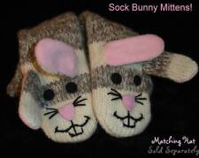 deLux Sock Bunny MITTENS puppet ADULT animal puppet gray rabbit HAT SEPARATE