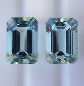 5.94ct!! AQUAMARINES MATCHING PAIR - EXPERTLY FACETED IN GERMANY + CERT INCLUDED
