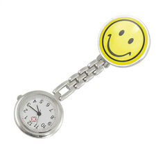 Yellow Smiling Face Design Brooch Arabic Numerals Nurse Watch For Women G4C6