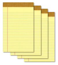 "(4) 5""x8"" 50 Sheet Yellow Writing Paper Note Pads - New"