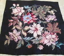 Vintage Finished Needlepoint Yarn Canvas Tapestry Seat Pillow Black Floral