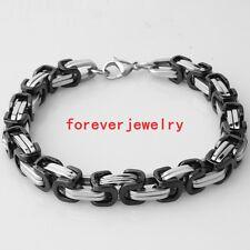 "8mm Cool Stainless Steel Silver Black Byzantine Chain Men's Bracelet Bangle 9"""