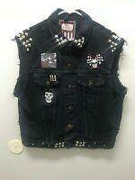 Punk Rock Vest Black Denim Jean Jacket Patches Metal Misfits Women's Medium