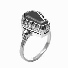 Coffin and Skull Ring Natural Gemstone Set In Sterling Silver