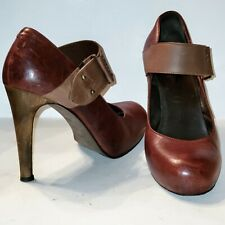 Joie 100% Leather Ox Blood High Heel Mary Jane Pumps Italy Euro 39.5 US 8.5