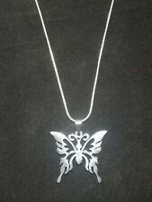 Butterfly Necklace Stainless Steel Pendant on Sterling SIlver Chain