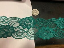 3 inch wide deep green lace with excellent floral detail
