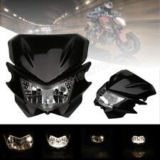Universal Street Fighter Motorcross Dirt Bike Headlight H4 Lamp Fairing Black