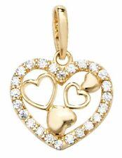 9ct Yellow Gold Heart Cubic Zirconia Pendant