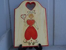 CUTE HAND MADE WOODEN SIGN BE MINE HEART LADY LOVE FLORAL HEART MOTIF GREAT CON