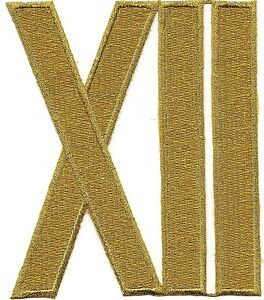 """5"""" Metallic Gold Roman Numeral XII Twelve 12 Embroidery Patch"""