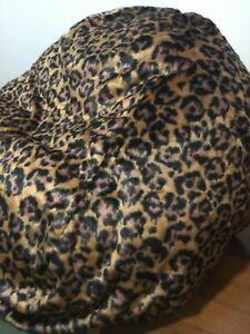 LARGE LEOPARD PRINT FUR BEANBAG COVER RETRO LEOPARD PRINT BEAN BAG 130cmx104cm