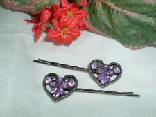 PAIR PURPLE RHINESTONE VALENTINES DAY HEARTS BOBBY PINS IN GIFT BOX