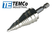 "TEMCo Step Drill Bit M35 Cobalt 3/16"" - 15/16"" for Electricians Conduit Knockout"
