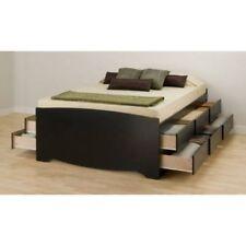 PLATFORM STORAGE BED Queen Size 12 Drawers Wood Modern Bedroom Furniture Black