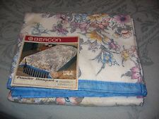 """VINTAGE BEACON BLANKET-FLORAL """"POWDER BOUQUET""""TWIN/FULL- 72"""" X 90""""-NEVER USED"""