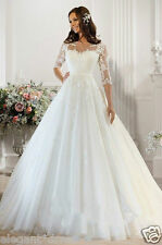 New White / Ivory Wedding Dress Bridal Gown Custom Size 6-8-10-12-14-16+++