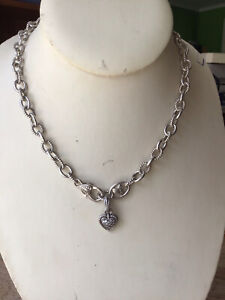 Judith Ripka 925 Sterling 45cm Necklace W/pave Diamontique CZ Hear Pendent 46g