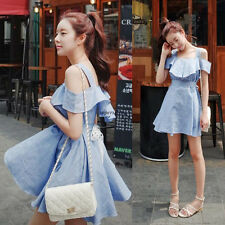 New Women Cotton Linen Off Shoulder Slim A Line Bubble Shirt Dress Light Blue L