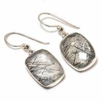 "Black Rutile Quartz Natural Gemstone 925 Sterling Silver Earring 1.4"" SE-243"