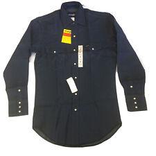 Nos Vtg Wrangler Denim Cowboy Western Work Shirt Pearl Snap Men 70127Mw 15x33