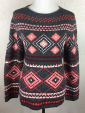 S15 NEW Talbots Sz L Lambswool Wool Pink Gray Heart Geometric Scoop Neck Sweater