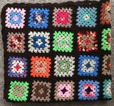 "Vintage Hand Crochet Knit Afghan Granny Squares Multi Color Brown 52"" X 60"""