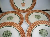 5 PIER 1 ANGLETERRE DINNER PLATES 10 1/4'' TOPIARY MADE IN ENGLAND
