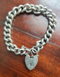 VINTAGE STUNNING SOLID SILVER BRACELET-HEART LOCK VERY BEST QUALITY 8 INCH HEAVY