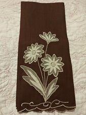 "Gorgeous Dark Brown Madeira Shadow Work & Embroidered Linen Towel 20.5"" x 13.5"""