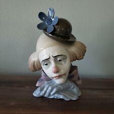 Vintage Lladro Figurine Pensive Clown #5130 Glaze Bust Head, Spain