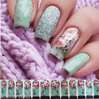Pink Flower Design Nail Art Water Wraps Decal Manicure Sticker Transfer Tattoo