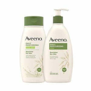 Aveeno Daily Moisturizing Body Lotion with Soothing Oat, 18 fl. oz & Daily Moist