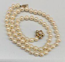14K Yellow Gold & cultured AKOYA Pearl strand necklace 6 mm beads Flower clasp