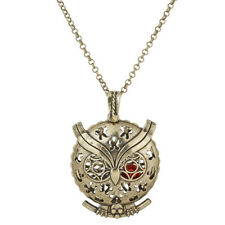 """Bronze Pad Aroma Diffuser Eagle Owl Beads Cage Locket Necklace 20""""--VB1277"""