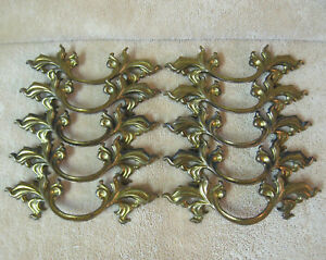 "10 Used Belwith Brass French Provincial Drawer Pulls 3"" Center     (A)"