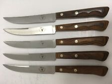 ECKO FLINT RAZOR EDGE LOT OF 5 STEAK KNIVES USA STAINLESS STEEL VINTAGE EUC