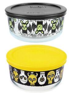 1 New PYREX 4 Cup Creepy Skulls HALLOWEEN STORAGE *Choose: BATS or PARTY BONES