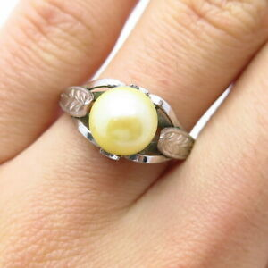 Rare Antique Japan 925 Sterling Silver Real Akoya Pearl Handmade Ring Size 7.5