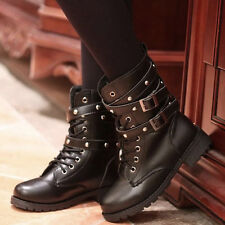 Women Punk Gothic Lace Up Belts  Low Heel Short Ankle Boots Casual Booties Black