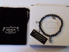 Shimla Joyería Bracelet Negro Ágata Fuego con cráneo de plata encanto Unisex SH928