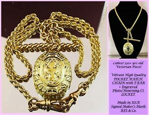 c1880 Antique Victorian 10k GOLD WATCH CHAIN T-BAR ETCHED LOCKET Necklace SIGNED