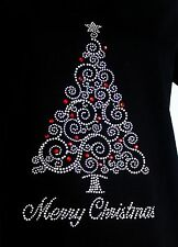MERRY CHRISTMAS TREE  rhinestone Iron on Transfer Hot Fix SANTA  NO SHIRT