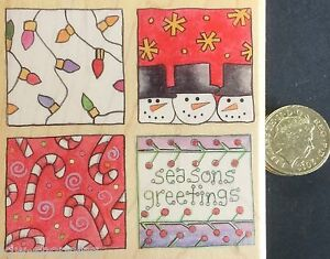 Gorgeous CHRISTMAS SQUARES Stamps Happen Inc Christmas Wooden Rubber Stamp