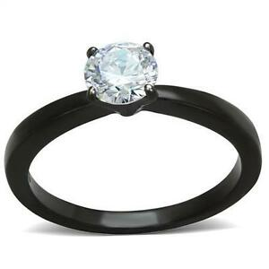 Black Stainless Steel Round Solitaire CZ Wedding Engagement Promise Ring sz 5-10