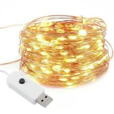 100 Luci LED Fata Stringa Bianco Caldo-ALIMENTAZIONE USB Lampeggiante 8 funzioni 10 M MSC