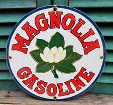 VINTAGE 1950S MAGNOLIA FLOWER GASOLINE MOTOR OIL PORCELAIN ENAMEL GAS PUMP SIGN