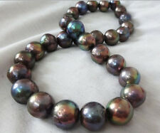 """18""""16MM AUSTRALIAN SOUTH SEA NATURAL BLACK MULTICOLOR NUCLEAR PEARL NECKLACE"""