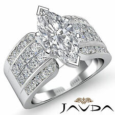 Solid Marquise Diamond Invisible Pave Engagement Ring GIA G SI1 Platinum 2.14 ct