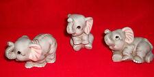 Mint lot set 3 vintage HOMCO porcelain ELEPHANTS sitting laying standing